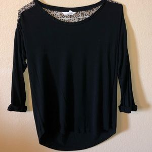 Black casual top with cheetah back panel